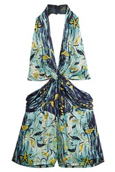 Anna Sui Gone Fishing Silk Romper Multicolor
