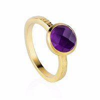 Neola Estella Gold Stacking Ring With Purple Amethyst