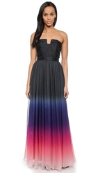 Halston Strapless Ombre Gown Orchid Multi Ombre Print