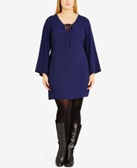 City Chic Trendy Plus Size Bell Sleeve Tunic French Navy