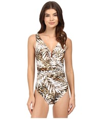 Miraclesuit Sheer Safari Palisades One Piece Brown Women's Swimsuits One Piece