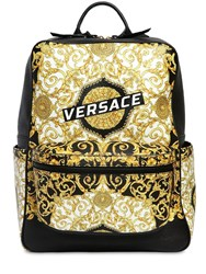 Versace Logo Baroque Print Leather Backpack Black Gold