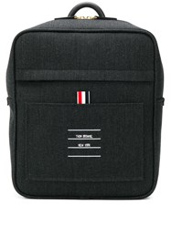 Thom Browne Paper Label Print Book Bag Grey