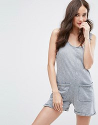 Pull And Bear Romper In Acid Wash Gray