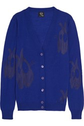 Mcq By Alexander Mcqueen Burnout Wool Blend Cardigan Royal Blue