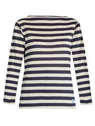 Orcival Breton Striped Linen Top White Navy