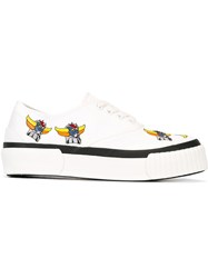 Julien David Embroidered Canvas Sneakers White