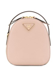 Prada Mini Logo Plaque Backpack Pink