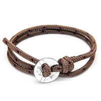 Anchor And Crew Lerwick Rope Silver Braceletbrown