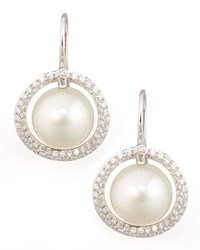 White South Sea Pearl And Diamond Halo Earrings 1.15Ct Eli Jewels Blue