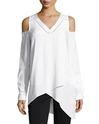 Neiman Marcus Ladder Stitch Cold Shoulder Blouse White
