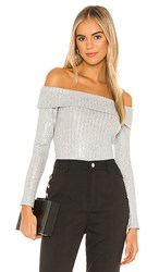 Bcbgeneration Off The Shoulder Knit Top In Gray. Metallic Multi Combo