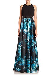 Carmen Marc Valvo Embellished A Line Gown Turquoise