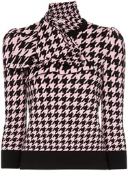 Alexander Mcqueen Houndstooth Intarsia Knitted Top Black