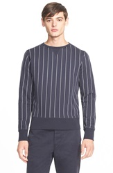Officine Generale Stripe French Terry Sweatshirt Navy White Stripe