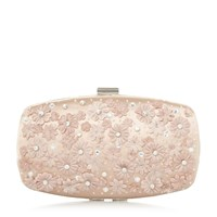 Roland Cartier Blooming Floral Trim Clutch Bag Nude