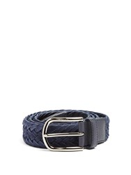 Tod's Woven Suede And Leather Belt Navy