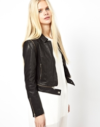 Just Female Leather Biker Jacket With Zip Off Sleeves Black