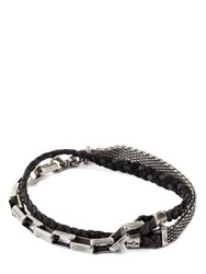 Title Of Work Mesh Chain And Braided Leather Bracelet