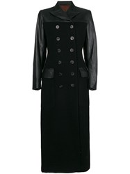 Jean Paul Gaultier Vintage Faux Leather Long Coat Black