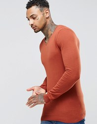 Asos Muscle Fit V Neck Jumper In Rust Cotton Burnt Orange