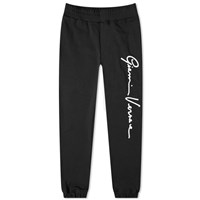 Versace Gianni Signature Flocked Logo Sweat Pant Black