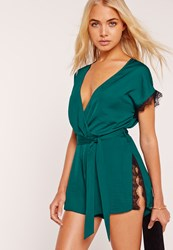 Missguided Eyelash Lace Trim Silky Wrap Playsuit Teal