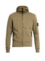 Stone Island Hooded Zip Through Cotton Sweater Light Green