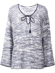 See By Chloe Knit String Tie Top Blue