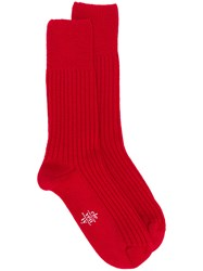 Eleventy Ribbed Socks Red