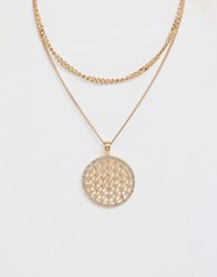 Ashiana Double Layered Disc Charm Necklace Gold