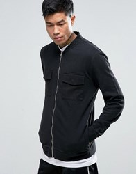 Asos Jersey Bomber Jacket In Longline With Acid Wash And Pockets Black