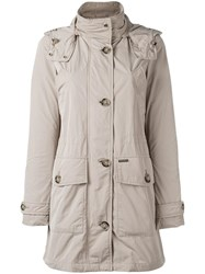 Woolrich Buttoned Midi Raincoat Nude Neutrals