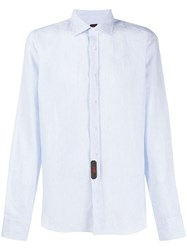 Massimo Piombo Mp Micro Stripe Crinkled Effect Shirt Blue