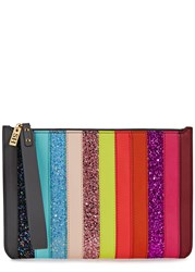Sophie Hulme Rainbow Sequin Embellished Leather Clutch