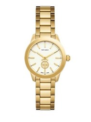 Tory Burch Collins Goldtone Stainless Steel And Leather Strap Watch