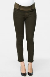 Women's Maternal America Maternity Skinny Ankle Stretch Jeans Olive