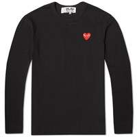 Comme Des Garcons Play Long Sleeve Basic Logo Tee Black