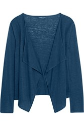 Majestic Draped Slub Linen And Silk Blend Cardigan Blue