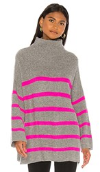Autumn Cashmere Breton Stripe Funnel Shaker In Gray. Cement And Atomic Pink