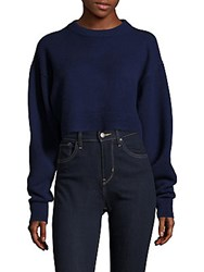 Tibi Cashmere Crewneck Cropped Sweater Navy