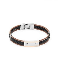 Alor Stainless Steel And Leather Braided Bracelet Black