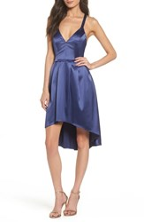 Sequin Hearts Satin High Low Dress Navy