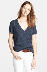 Women's Madewell Slub Pocket V Neck Tee Heather Indigo