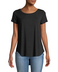 Chelsea And Theodore Scoop Neck High Low Tee Black