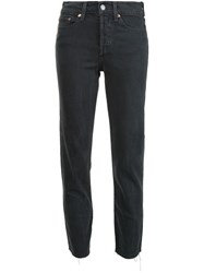 Levi's Cropped Frayed Hem Jeans Black