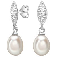 Dower And Hall Hammered Freshwater Pearl Drop Earrings Silver White