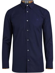 Burberry Check Cuff Stretch Cotton Poplin Shirt Blue