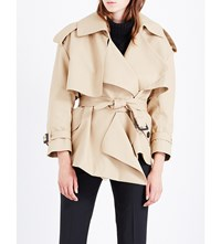 Burberry Draped Cotton Trench Coat Honey