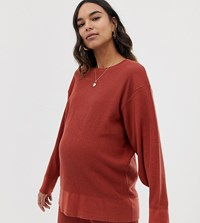 Asos Design Maternity Premium Lounge Knitted Dropped Sleeve Sweat Brown
